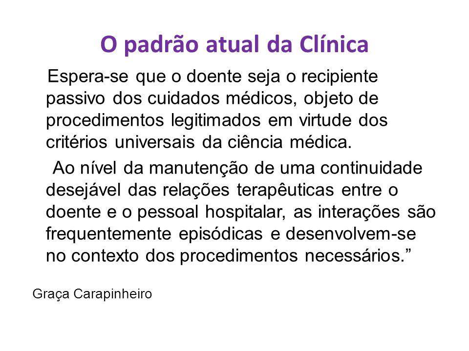 O padrão atual da Clínica Espera-se que o doente seja o recipiente passivo dos cuidados médicos, objeto de procedimentos legitimados em virtude dos cr