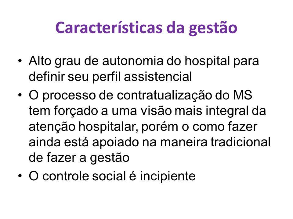 Características da gestão Alto grau de autonomia do hospital para definir seu perfil assistencial O processo de contratualização do MS tem forçado a u