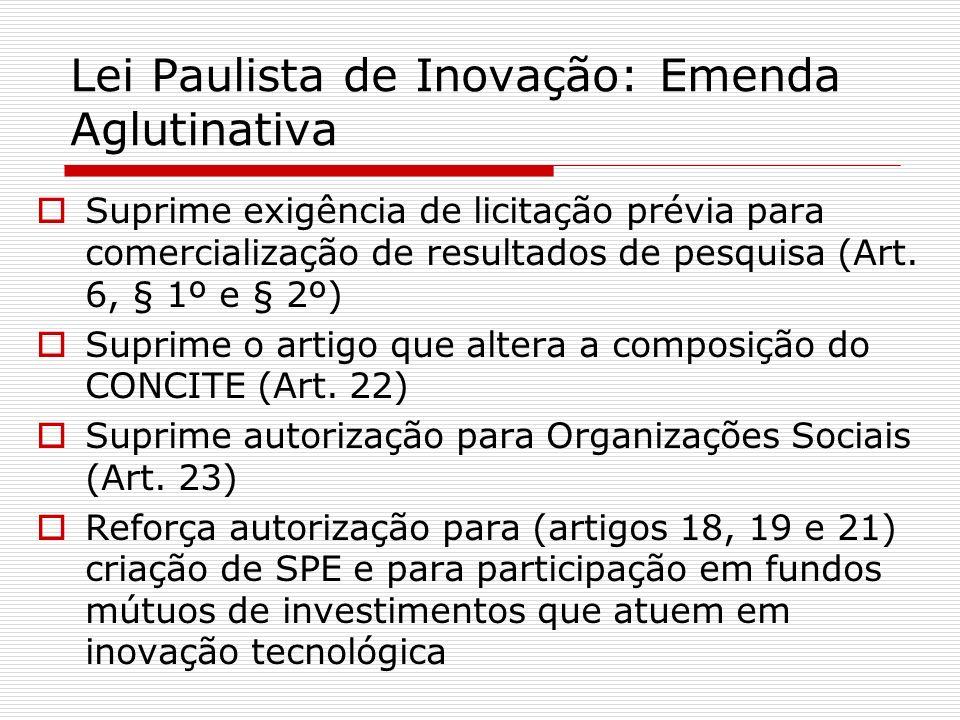Lei Paulista de Inovação: Emenda Aglutinativa Suprime exigência de licitação prévia para comercialização de resultados de pesquisa (Art. 6, § 1º e § 2