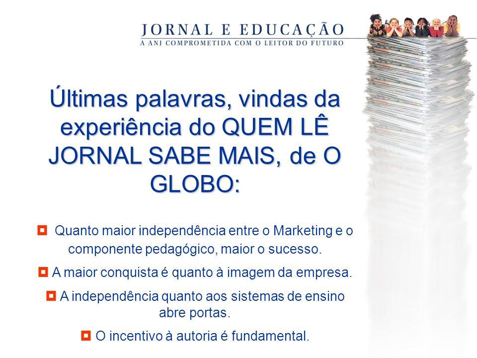 Últimas palavras, vindas da experiência do QUEM LÊ JORNAL SABE MAIS, de O GLOBO: Quanto maior independência entre o Marketing e o componente pedagógico, maior o sucesso.