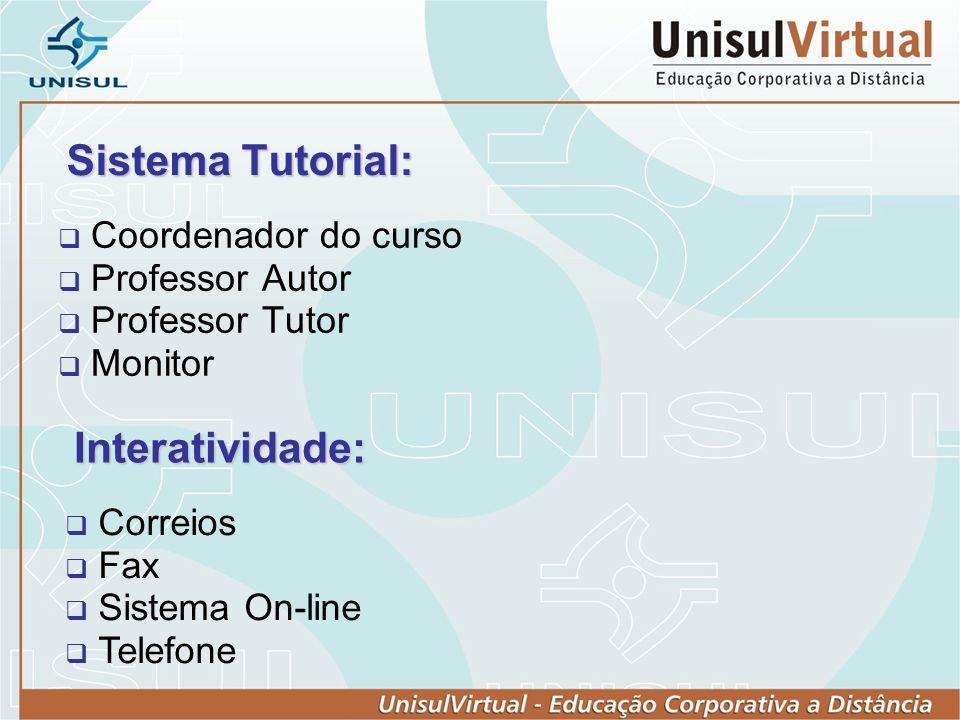 Sistema Tutorial: Coordenador do curso Professor Autor Professor Tutor Monitor Interatividade: Correios Fax Sistema On-line Telefone