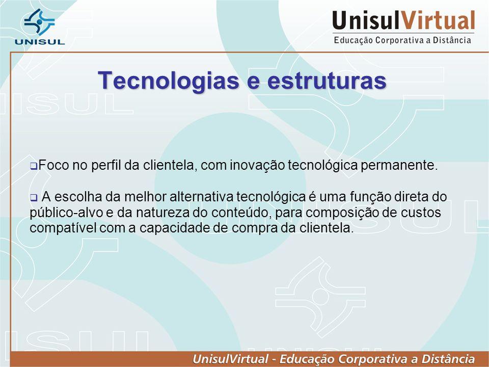 Tecnologias e estruturas Foco no perfil da clientela, com inovação tecnológica permanente.