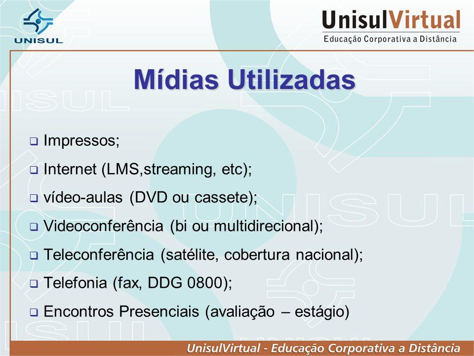 Mídias Utilizadas Impressos; Internet (LMS,streaming, etc); vídeo-aulas (DVD ou cassete); Videoconferência (bi ou multidirecional); Teleconferência (satélite, cobertura nacional); Telefonia (fax, DDG 0800); Encontros Presenciais (avaliação – estágio)