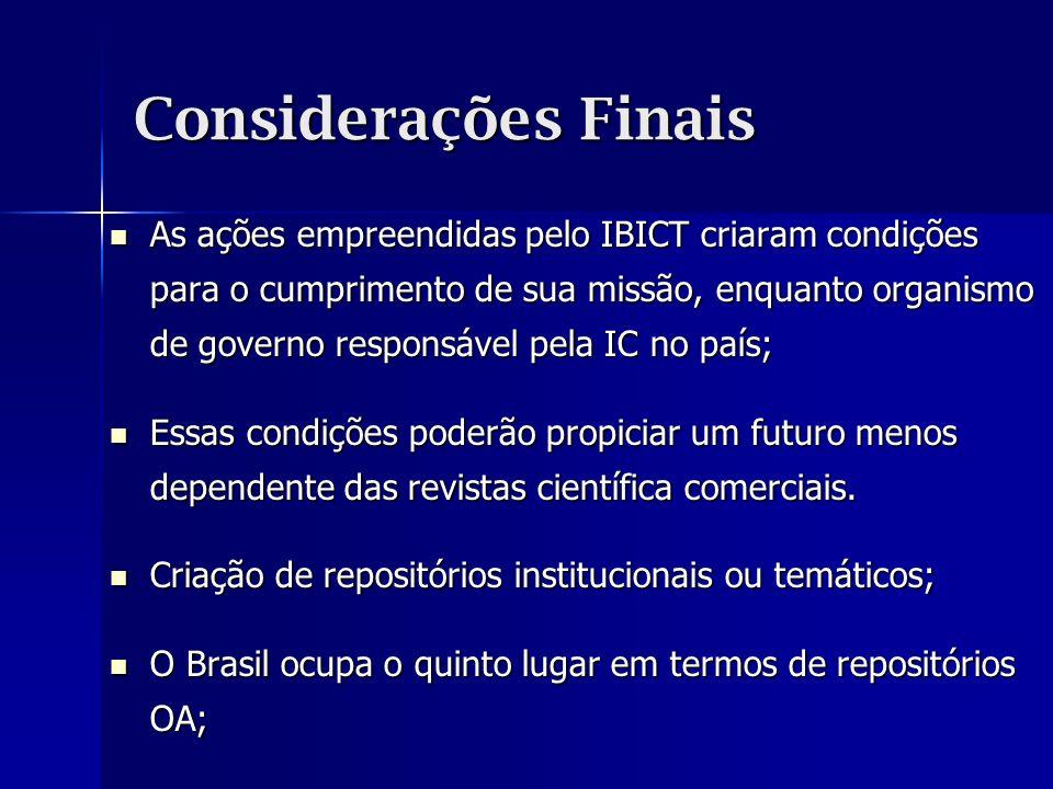 Considerações Finais As ações empreendidas pelo IBICT criaram condições para o cumprimento de sua missão, enquanto organismo de governo responsável pe