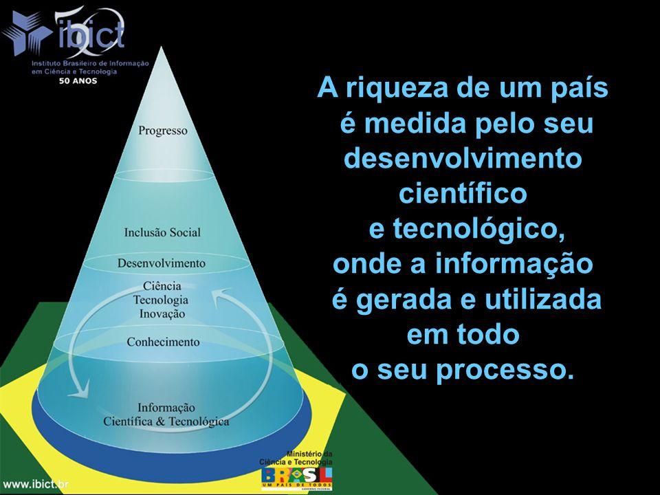 A riqueza de um país é medida pelo seu desenvolvimento científico e tecnológico, onde a informação é gerada e utilizada em todo o seu processo.