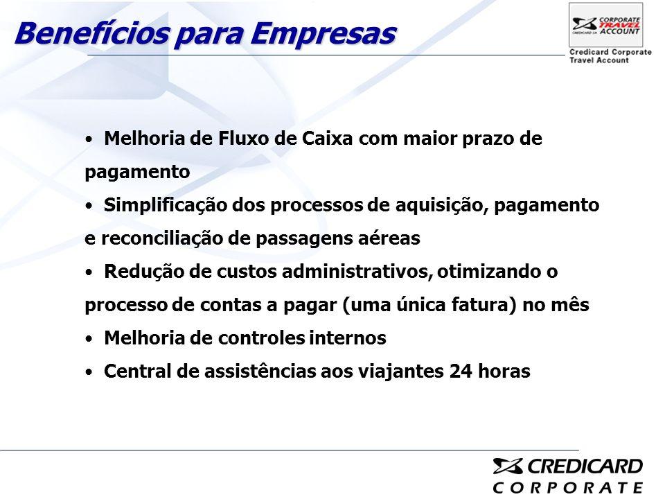 Melhoria de Fluxo de Caixa com maior prazo de pagamento Simplificação dos processos de aquisição, pagamento e reconciliação de passagens aéreas Reduçã