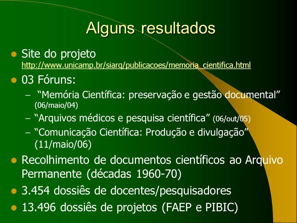 Alguns resultados Alguns resultados Site do projeto http://www.unicamp.br/siarq/publicacoes/memoria_cientifica.html http://www.unicamp.br/siarq/publicacoes/memoria_cientifica.html 03 Fóruns: – Memória Científica: preservação e gestão documental (06/maio/04) – Arquivos médicos e pesquisa científica (06/out/05) – Comunicação Científica: Produção e divulgação (11/maio/06) Recolhimento de documentos científicos ao Arquivo Permanente (décadas 1960-70) 3.454 dossiês de docentes/pesquisadores 13.496 dossiês de projetos (FAEP e PIBIC)