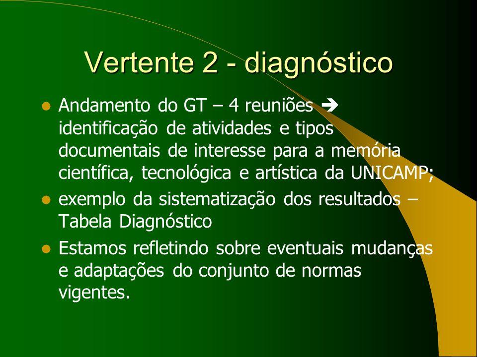 Vertente 2 - diagnóstico Andamento do GT – 4 reuniões identificação de atividades e tipos documentais de interesse para a memória científica, tecnológ