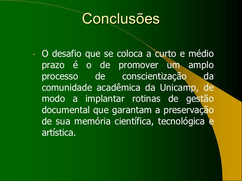 Conclusões - O desafio que se coloca a curto e médio prazo é o de promover um amplo processo de conscientização da comunidade acadêmica da Unicamp, de