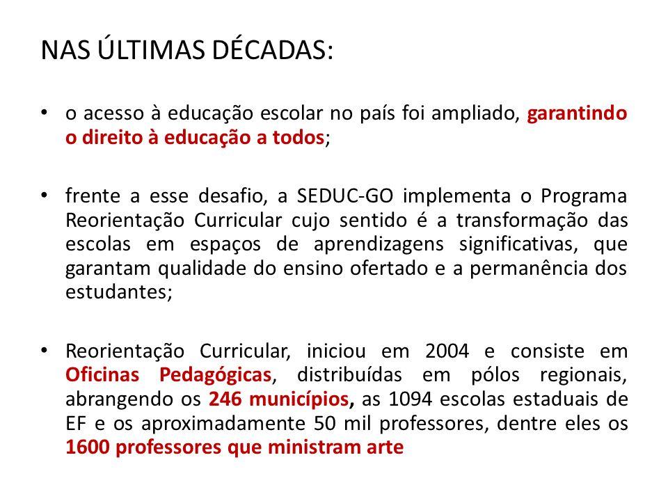 NAS ÚLTIMAS DÉCADAS: o acesso à educação escolar no país foi ampliado, garantindo o direito à educação a todos; frente a esse desafio, a SEDUC-GO impl