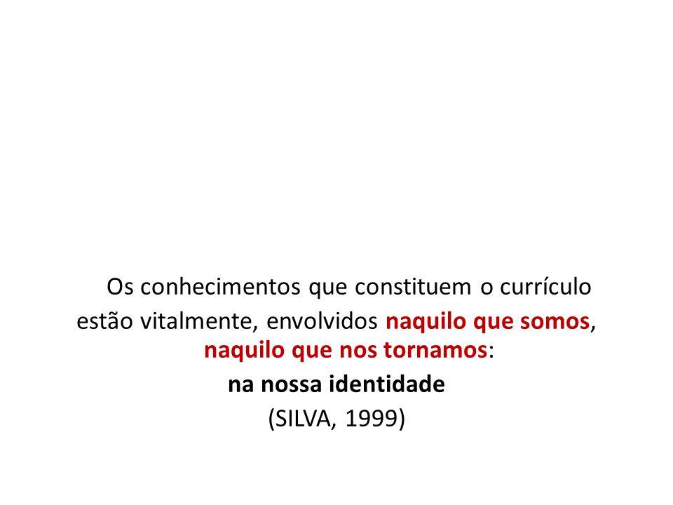 Os conhecimentos que constituem o currículo estão vitalmente, envolvidos naquilo que somos, naquilo que nos tornamos: na nossa identidade (SILVA, 1999