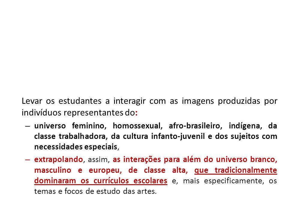 Levar os estudantes a interagir com as imagens produzidas por indivíduos representantes do: – universo feminino, homossexual, afro-brasileiro, indígen