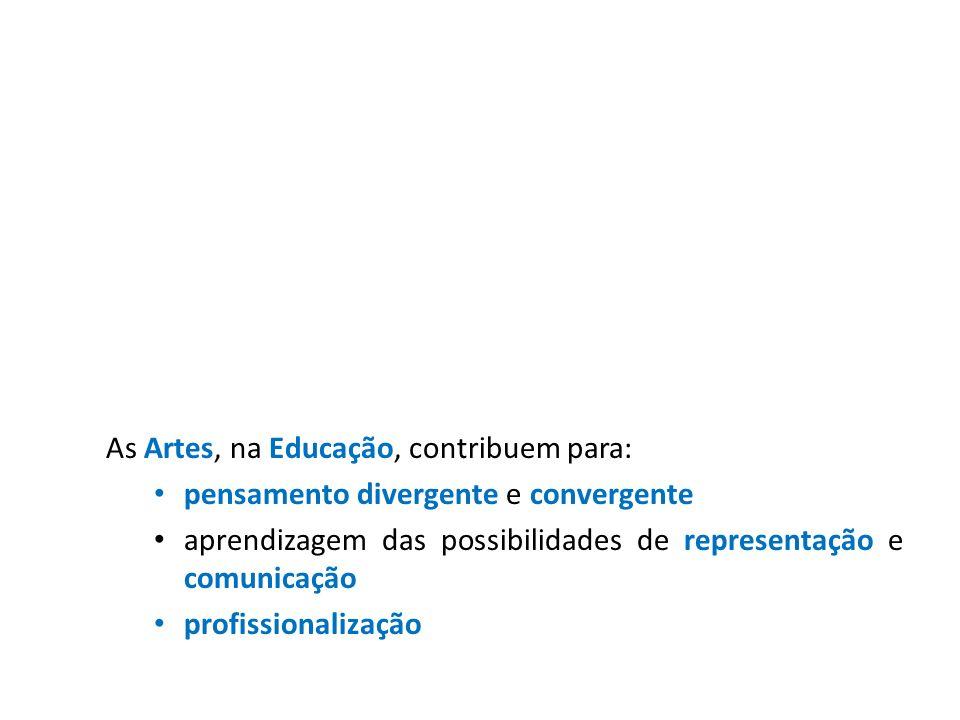 As Artes, na Educação, contribuem para: pensamento divergente e convergente aprendizagem das possibilidades de representação e comunicação profissiona