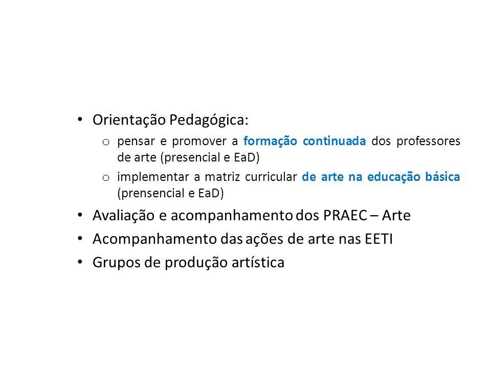 Orientação Pedagógica: o pensar e promover a formação continuada dos professores de arte (presencial e EaD) o implementar a matriz curricular de arte