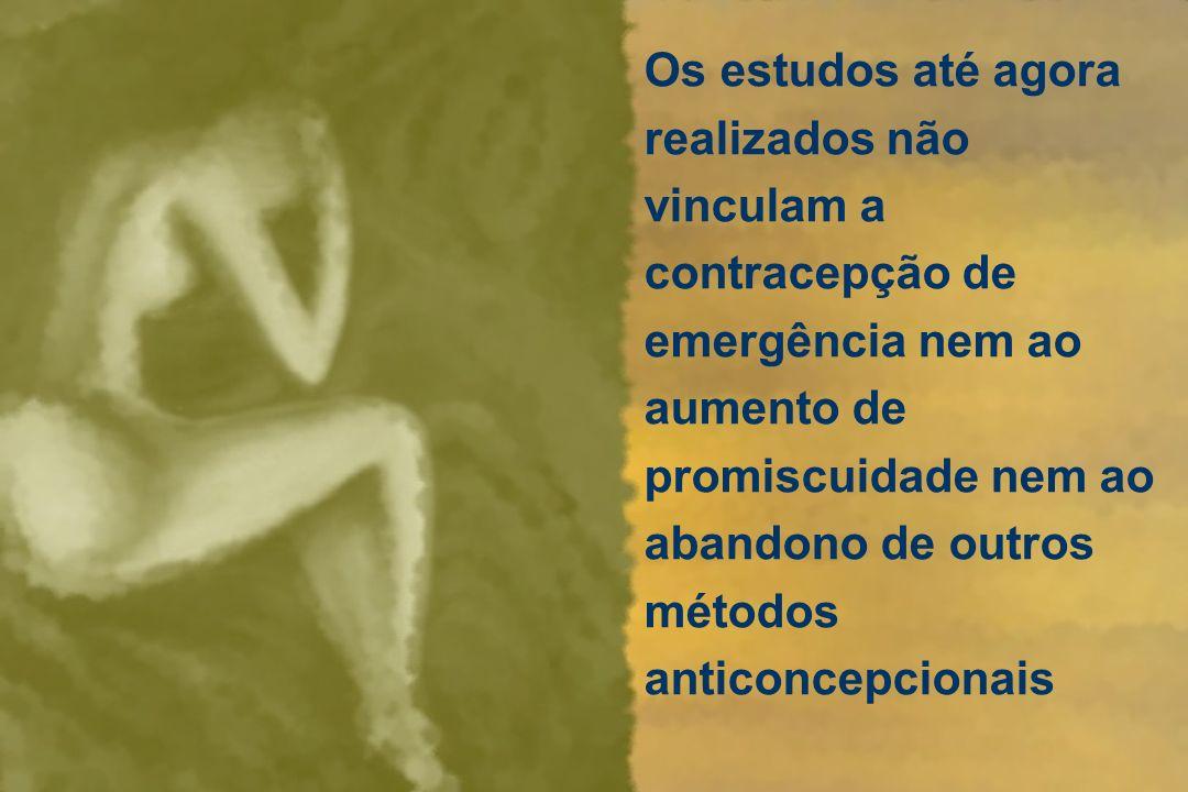 Os estudos até agora realizados não vinculam a contracepção de emergência nem ao aumento de promiscuidade nem ao abandono de outros métodos anticoncep