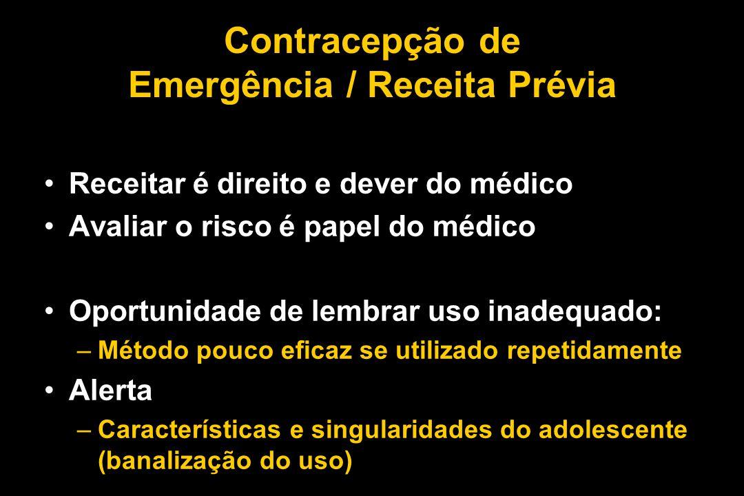 Contracepção de Emergência / Receita Prévia Receitar é direito e dever do médico Avaliar o risco é papel do médico Oportunidade de lembrar uso inadequ