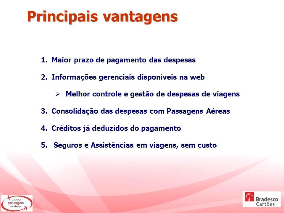 1.Maior prazo de pagamento das despesas 2.Informações gerenciais disponíveis na web Melhor controle e gestão de despesas de viagens 3.Consolidação das
