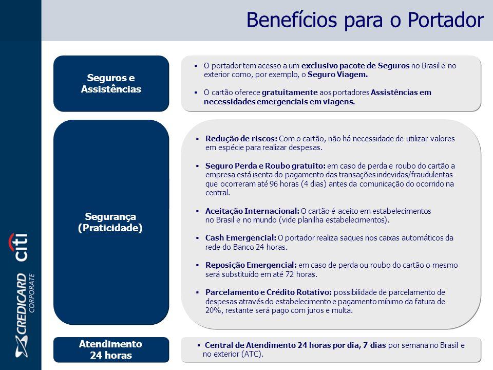 Segurança Reposição do cartão no Brasil e no Exterior.