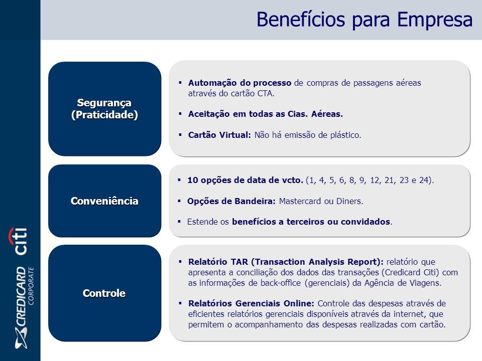 Segurança(Praticidade)Segurança(Praticidade) Automação do processo de compras de passagens aéreas através do cartão CTA. Aceitação em todas as Cias. A