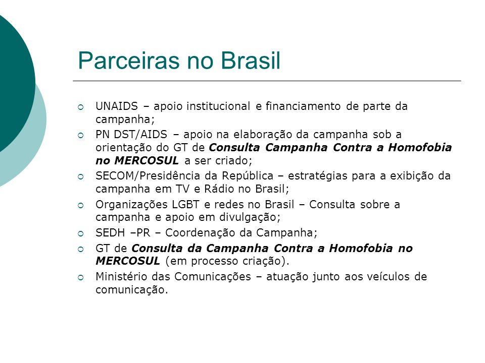 Parceiras no Brasil UNAIDS – apoio institucional e financiamento de parte da campanha; PN DST/AIDS – apoio na elaboração da campanha sob a orientação