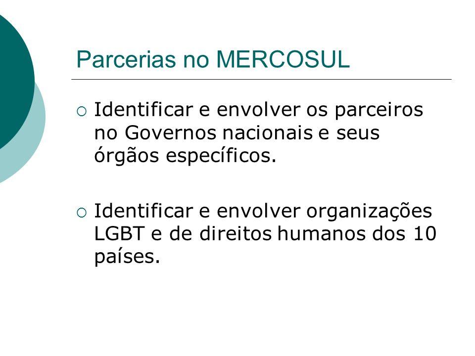 Parcerias no MERCOSUL Identificar e envolver os parceiros no Governos nacionais e seus órgãos específicos. Identificar e envolver organizações LGBT e