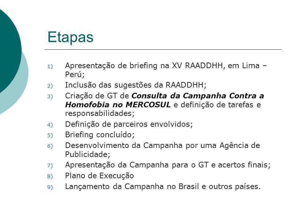 Etapas 1) Apresentação de briefing na XV RAADDHH, em Lima – Perú; 2) Inclusão das sugestões da RAADDHH; 3) Criação de GT de Consulta da Campanha Contr