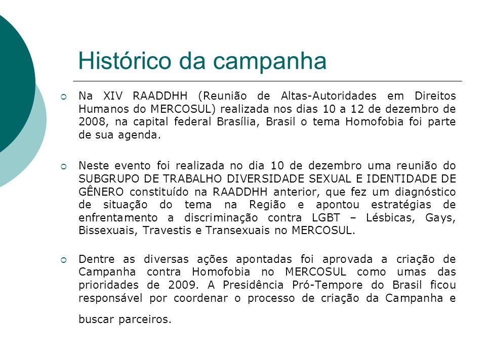 Histórico da campanha Na XIV RAADDHH (Reunião de Altas-Autoridades em Direitos Humanos do MERCOSUL) realizada nos dias 10 a 12 de dezembro de 2008, na