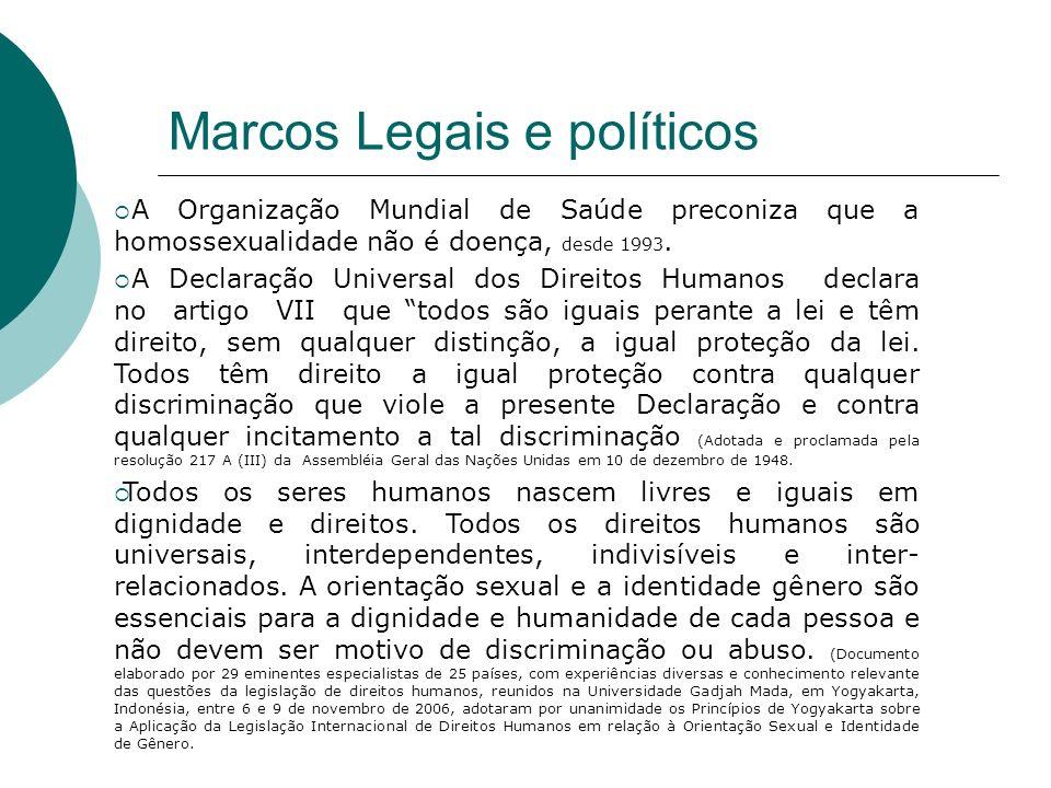 Marcos Legais e políticos A Organização Mundial de Saúde preconiza que a homossexualidade não é doença, desde 1993. A Declaração Universal dos Direito
