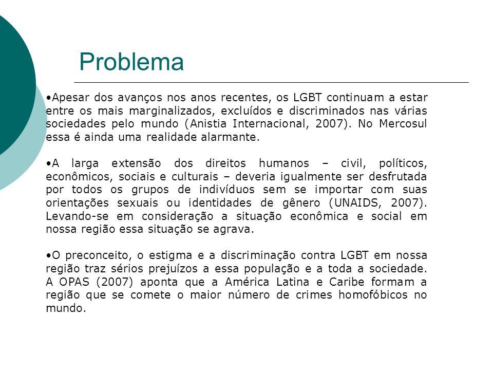 Problema Apesar dos avanços nos anos recentes, os LGBT continuam a estar entre os mais marginalizados, excluídos e discriminados nas várias sociedades