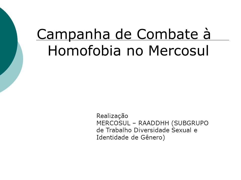 Campanha de Combate à Homofobia no Mercosul Realização MERCOSUL – RAADDHH (SUBGRUPO de Trabalho Diversidade Sexual e Identidade de Gênero)