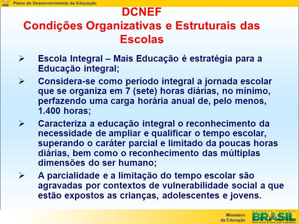 Ministério da Educação DCNEF Condições Organizativas e Estruturais das Escolas Escola Integral – Mais Educação é estratégia para a Educação integral;