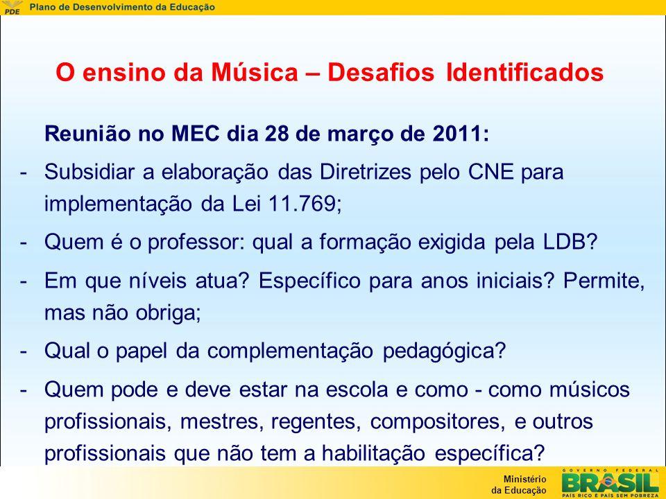 Ministério da Educação O ensino da Música – Desafios Identificados Reunião no MEC dia 28 de março de 2011: -Subsidiar a elaboração das Diretrizes pelo