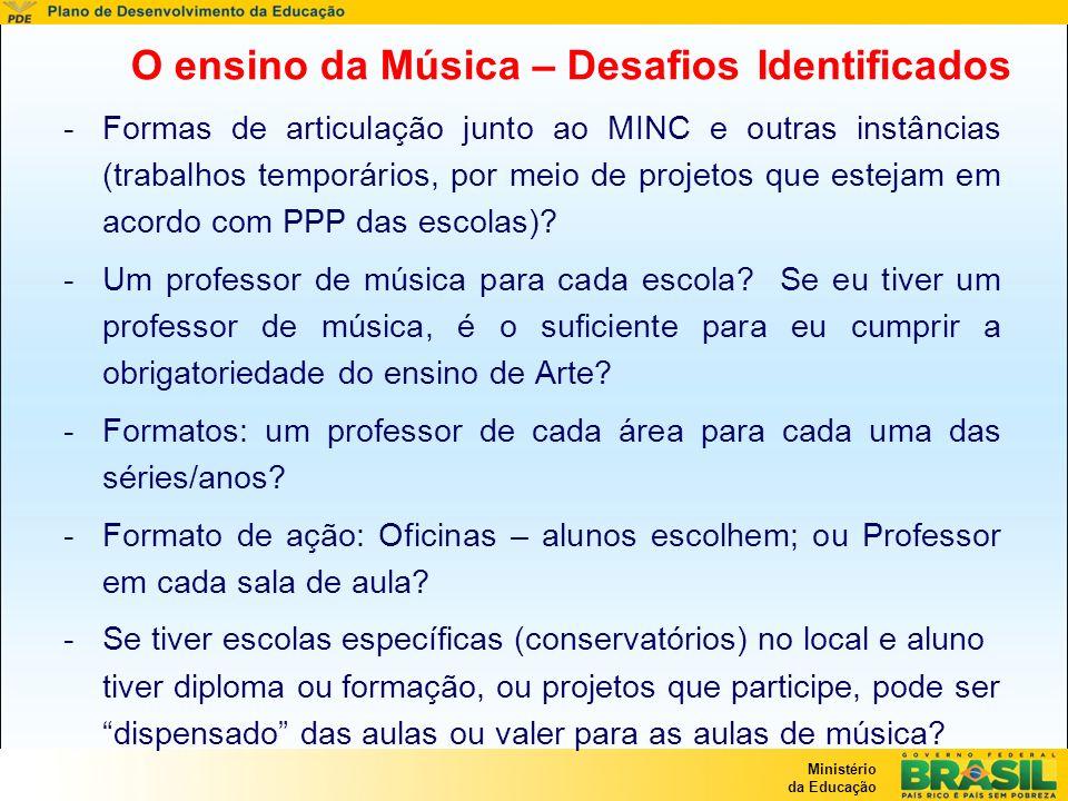 Ministério da Educação O ensino da Música – Desafios Identificados -Formas de articulação junto ao MINC e outras instâncias (trabalhos temporários, po