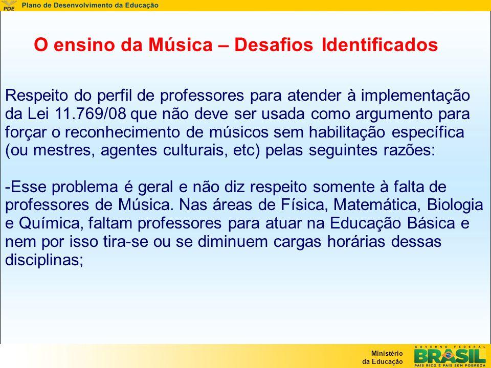 Ministério da Educação Respeito do perfil de professores para atender à implementação da Lei 11.769/08 que não deve ser usada como argumento para forç