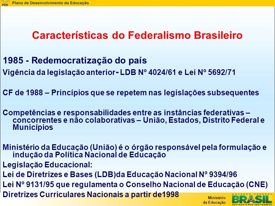 Ministério da Educação Características do Federalismo Brasileiro 1985 - Redemocratização do país Vigência da legislação anterior - LDB Nº 4024/61 e Le