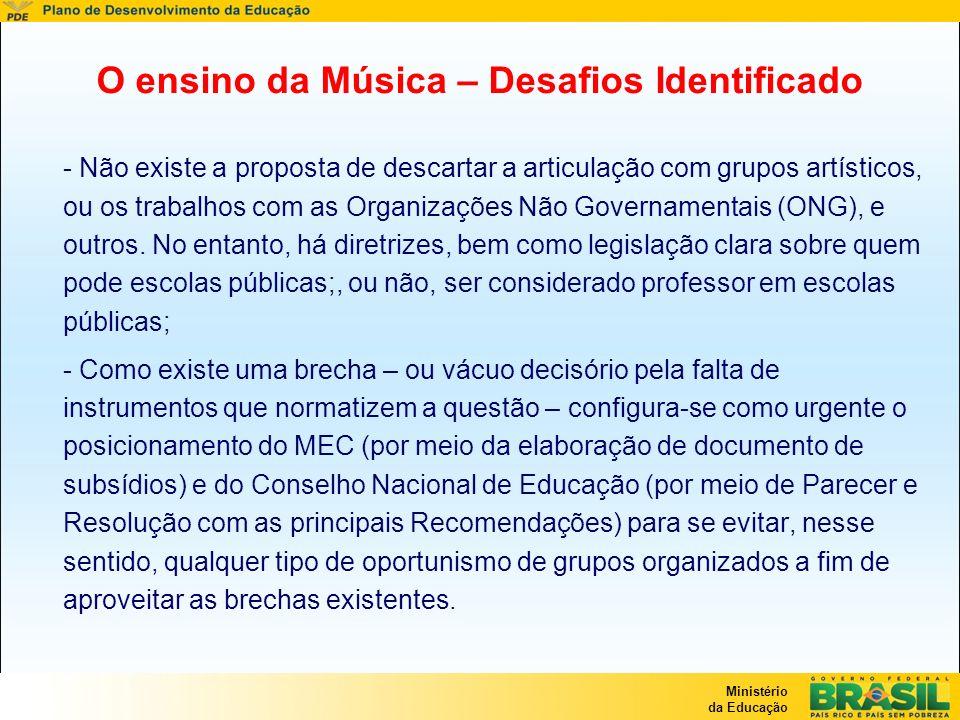 Ministério da Educação O ensino da Música – Desafios Identificado - Não existe a proposta de descartar a articulação com grupos artísticos, ou os trab
