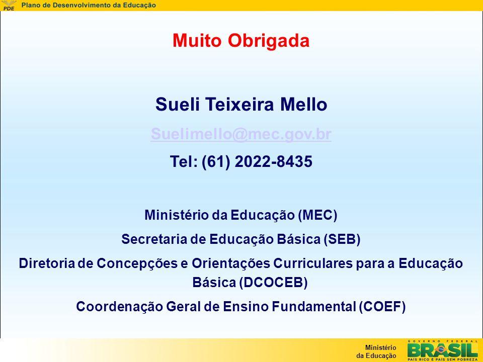 Ministério da Educação Muito Obrigada Sueli Teixeira Mello Suelimello@mec.gov.br Tel: (61) 2022-8435 Ministério da Educação (MEC) Secretaria de Educaç