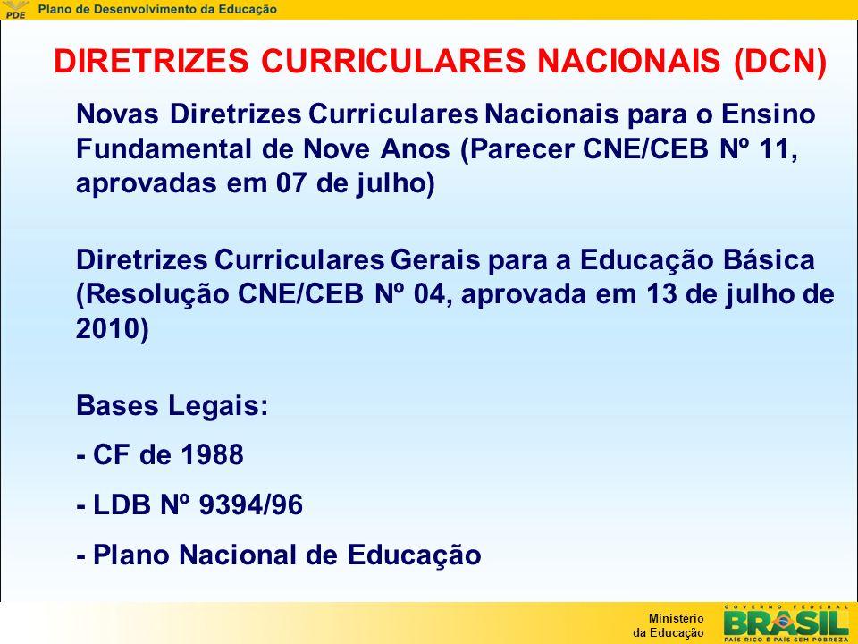 Ministério da Educação Atualização das DCN Lei 10.639/2003 – Ensino sobre História e Cultura Afro-brasileira; Lei 10.793/2003 – Educação Física; Lei 11.114/2005 – Ingresso das crianças aos seis anos no EF; Lei 11.161/2005 – Língua Espanhola a partir do 6º ano do EF junto com outra Língua estrangeira moderna; Lei11.274/06 – Ampliação do Ensino Fundamental para Nove Anos; Lei 11.645/2008 – Ensino da Cultura Afro-brasileira e indígena; Lei 11.684/2008 – Inclusão da Filosofia e da Sociologia em todo o Ensino Médio Lei 11.679/2008 – Obrigatoriedade do ensino da Música na Educação Básica; Lai 8.069/1990 - Inclusão do Estatuto da Criança e do Adolescente; Lei 9.795/1999 - Inclusão da Educação Ambiental; Lei 9.503/1997 – Educação para o Trânsito; Lei 10.741/2003 – Condição e direitos dos idosos.