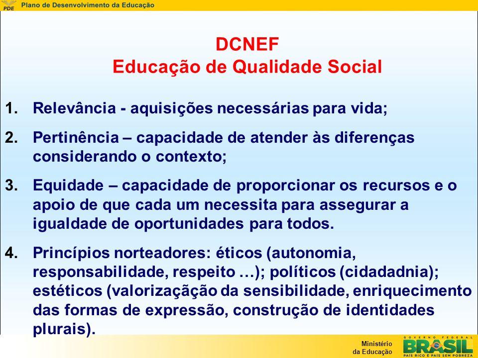 Ministério da Educação DCNEF Educação de Qualidade Social 1.Relevância - aquisições necessárias para vida; 2.Pertinência – capacidade de atender às di
