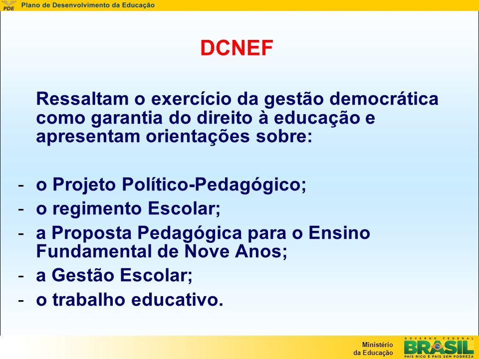 Ministério da Educação DCNEF Ressaltam o exercício da gestão democrática como garantia do direito à educação e apresentam orientações sobre: -o Projet