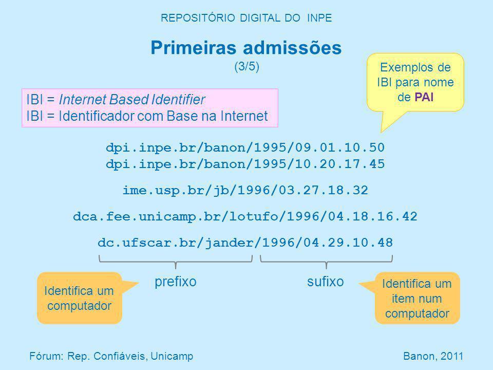 dpi.inpe.br/banon/1995/09.01.10.50 dpi.inpe.br/banon/1995/10.20.17.45 ime.usp.br/jb/1996/03.27.18.32 dca.fee.unicamp.br/lotufo/1996/04.18.16.42 dc.ufscar.br/jander/1996/04.29.10.48 Exemplos de IBI para nome de PAI IBI = Internet Based Identifier IBI = Identificador com Base na Internet prefixosufixo Identifica um computador Identifica um item num computador Primeiras admissões (3/5) REPOSITÓRIO DIGITAL DO INPE Fórum: Rep.