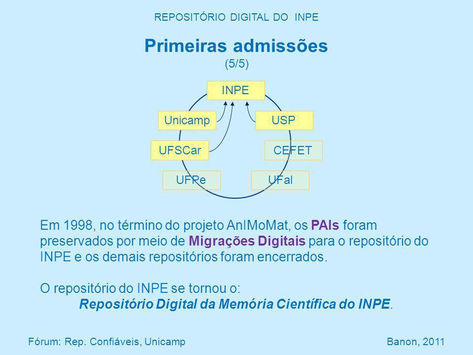 Em 1998, no término do projeto AnIMoMat, os PAIs foram preservados por meio de Migrações Digitais para o repositório do INPE e os demais repositórios foram encerrados.