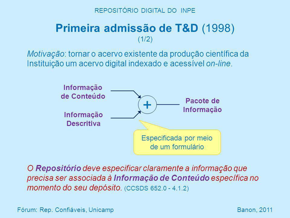 REPOSITÓRIO DIGITAL DO INPE Primeira admissão de T&D (1998) (1/2) O Repositório deve especificar claramente a informação que precisa ser associada à Informação de Conteúdo específica no momento do seu depósito.