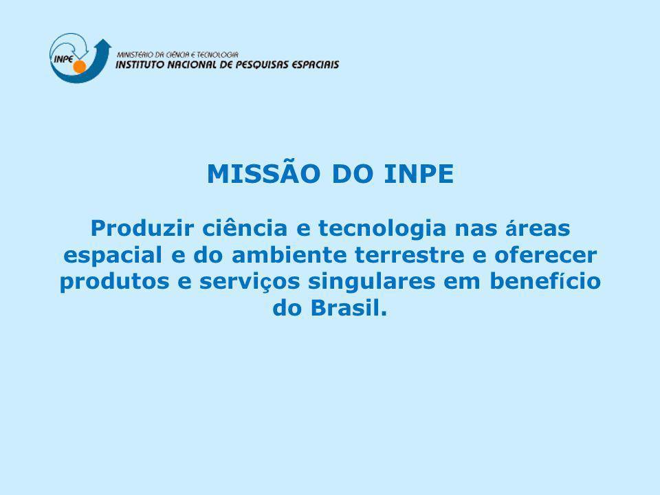 MISSÃO DO INPE Produzir ciência e tecnologia nas á reas espacial e do ambiente terrestre e oferecer produtos e servi ç os singulares em benef í cio do Brasil.