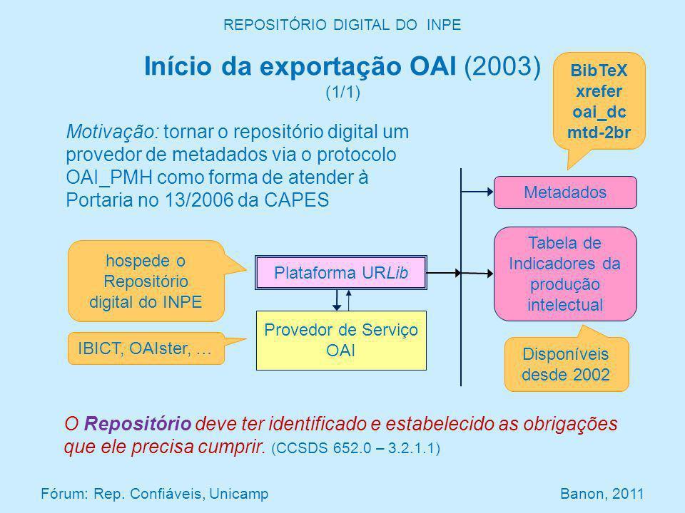 REPOSITÓRIO DIGITAL DO INPE Início da exportação OAI (2003) (1/1) Fórum: Rep. Confiáveis, Unicamp Banon, 2011 Plataforma URLib Provedor de Serviço OAI