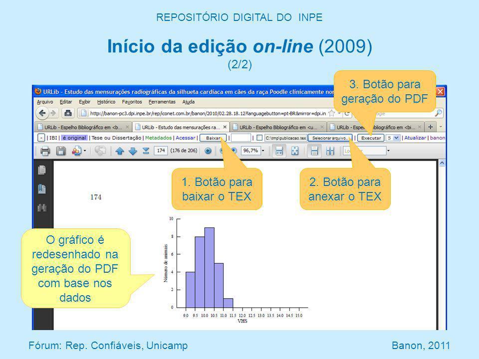 REPOSITÓRIO DIGITAL DO INPE Início da edição on-line (2009) (2/2) Fórum: Rep. Confiáveis, Unicamp Banon, 2011 3. Botão para geração do PDF 2. Botão pa