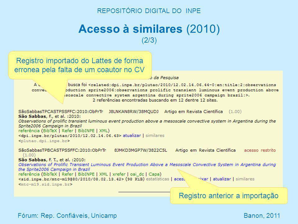 REPOSITÓRIO DIGITAL DO INPE Acesso à similares (2010) (2/3) Fórum: Rep. Confiáveis, Unicamp Banon, 2011 Registro importado do Lattes de forma erronea