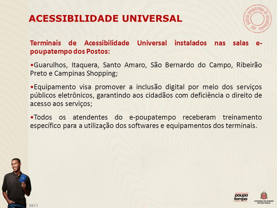 ACESSIBILIDADE UNIVERSAL Terminais de Acessibilidade Universal instalados nas salas e- poupatempo dos Postos: Guarulhos, Itaquera, Santo Amaro, São Be