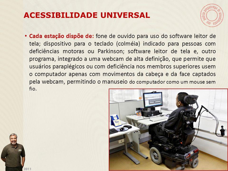 ACESSIBILIDADE UNIVERSAL Cada estação dispõe de: fone de ouvido para uso do software leitor de tela; dispositivo para o teclado (colméia) indicado par