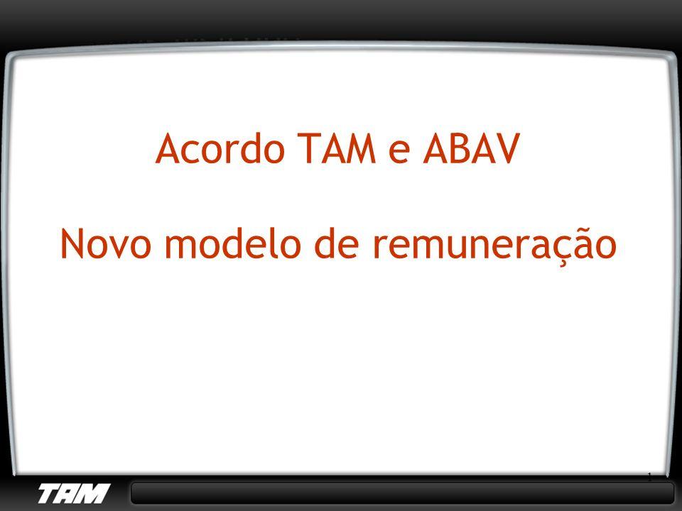 2 ABAV e TAM confirmam acordo para 2008 A partir de 11 de janeiro de 2008, a ABAV (Associação Brasileira de Agências de Viagens) e a TAM colocarão em prática um novo formato de pagamento da remuneração de agentes de turismo, tornando os serviços adquiridos pelo usuário final, clientes TAM, mais transparentes.